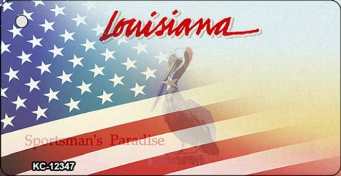 Louisiana with American Flag Novelty Metal Key Chain KC-12347