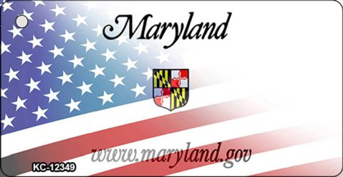 Maryland with American Flag Novelty Metal Key Chain KC-12349