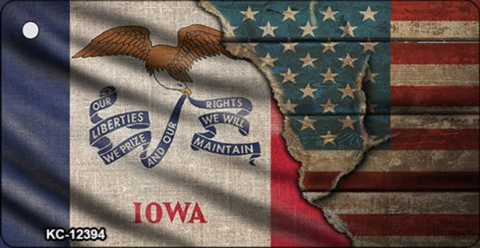 Iowa/American Flag Novelty Metal Key Chain KC-12394
