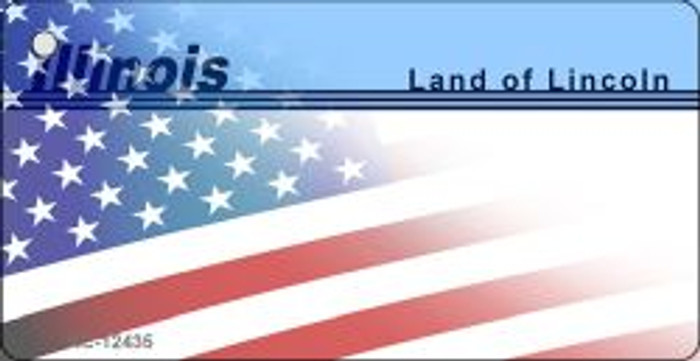 Illinois with American Flag Novelty Metal Key Chain KC-12435
