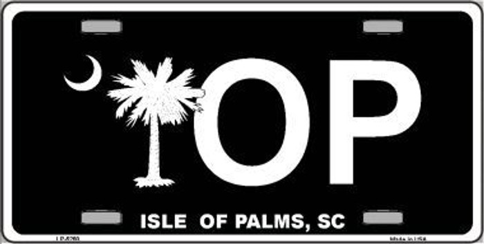 IOP Isle of Palms Black Metal Novelty License Plate LP-5260