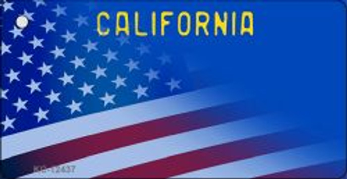 California with American Flag Novelty Metal Key Chain KC-12437