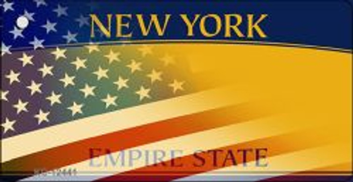 New York with American Flag Novelty Metal Key Chain KC-12441