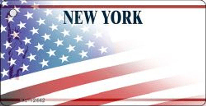 New York with American Flag Novelty Metal Key Chain KC-12442