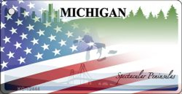 Michigan with American Flag Novelty Metal Key Chain KC-12444