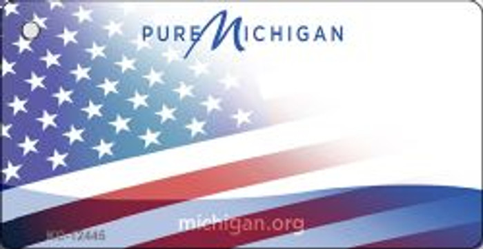 Michigan with American Flag Novelty Metal Key Chain KC-12445