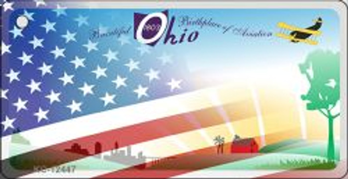 Ohio with American Flag Novelty Metal Key Chain KC-12447