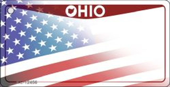 Ohio with American Flag Novelty Metal Key Chain KC-12456