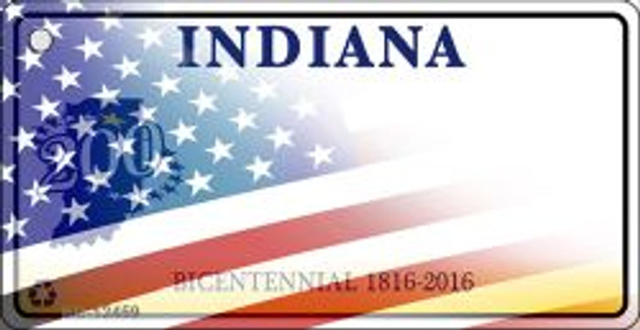 Indiana with American Flag Novelty Metal Key Chain KC-12459
