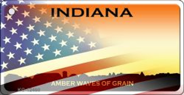 Indiana with American Flag Novelty Metal Key Chain KC-12460