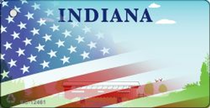 Indiana with American Flag Novelty Metal Key Chain KC-12461