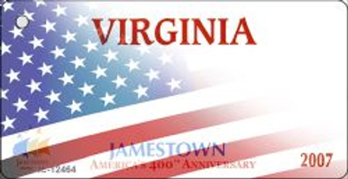 Virginia with American Flag Novelty Metal Key Chain KC-12464