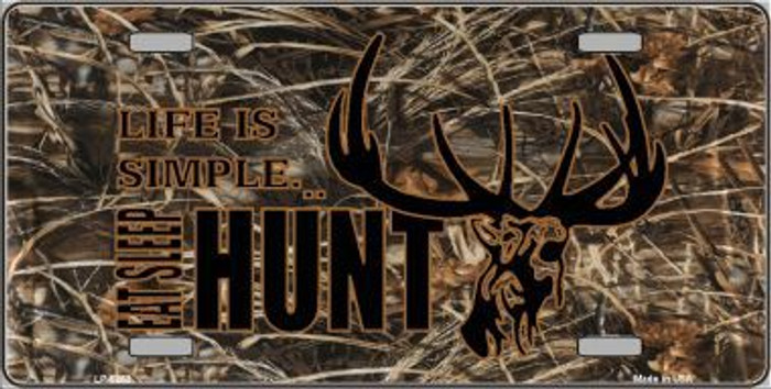 HUNT LIFE LICENSE PLATE TAG NOVELTY ALUMINUM 6 X 12 PLATE