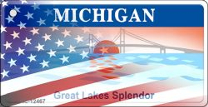 Michigan with American Flag Novelty Metal Key Chain KC-12467