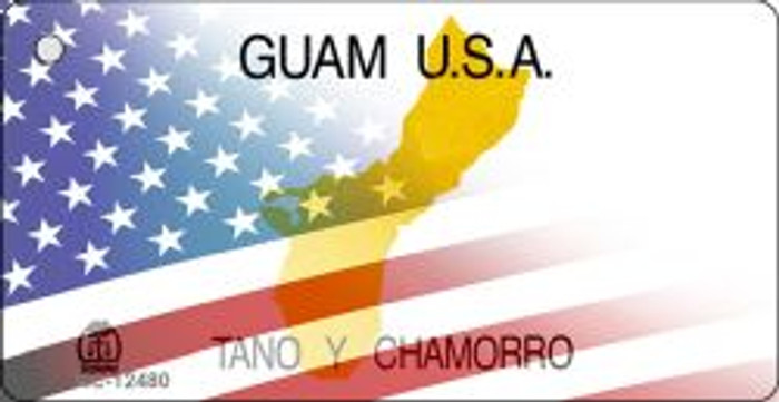 Guam with American Flag Novelty Metal Key Chain KC-12480