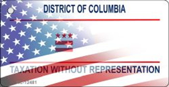 District of Columbia with American Flag Novelty Metal Key Chain KC-12481