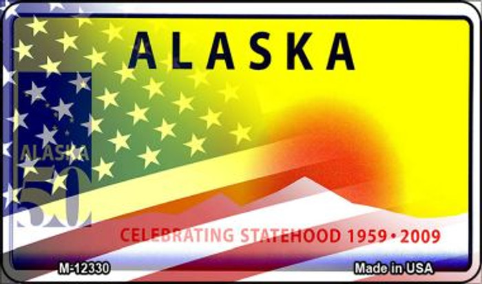 Alaska with American Flag Novelty Metal Magnet M-12330