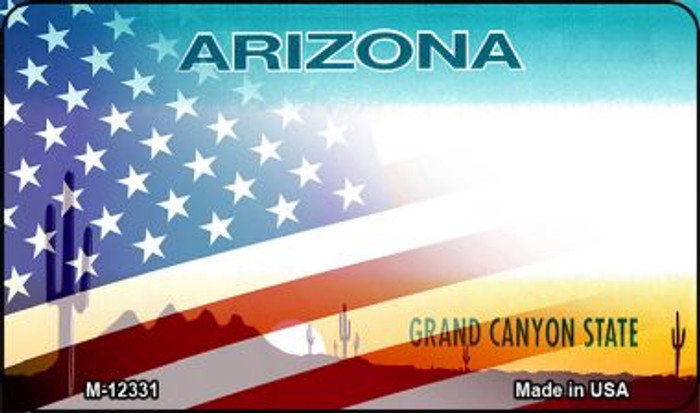 Arizona with American Flag Novelty Metal Magnet M-12331