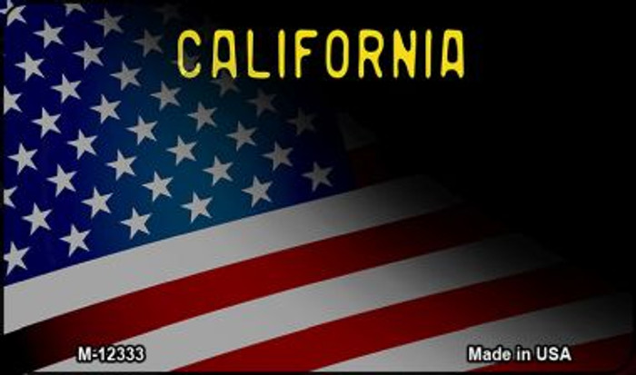 California with American Flag Novelty Metal Magnet M-12333