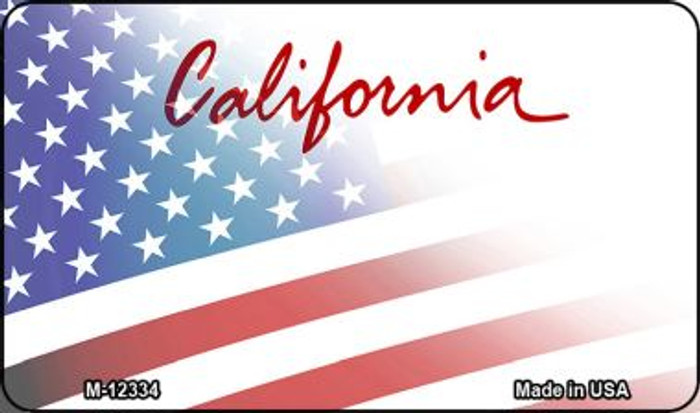 California with American Flag Novelty Metal Magnet M-12334