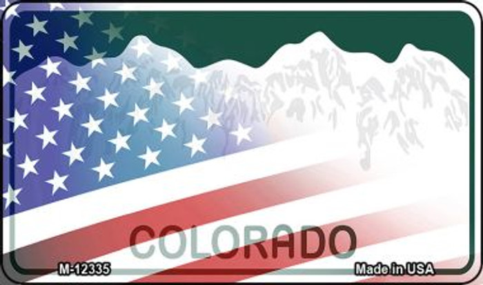 Colorado with American Flag Novelty Metal Magnet M-12335