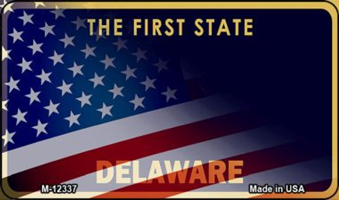 Delaware with American Flag Novelty Metal Magnet M-12337