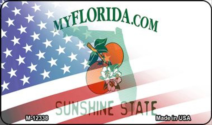 Florida with American Flag Novelty Metal Magnet M-12338