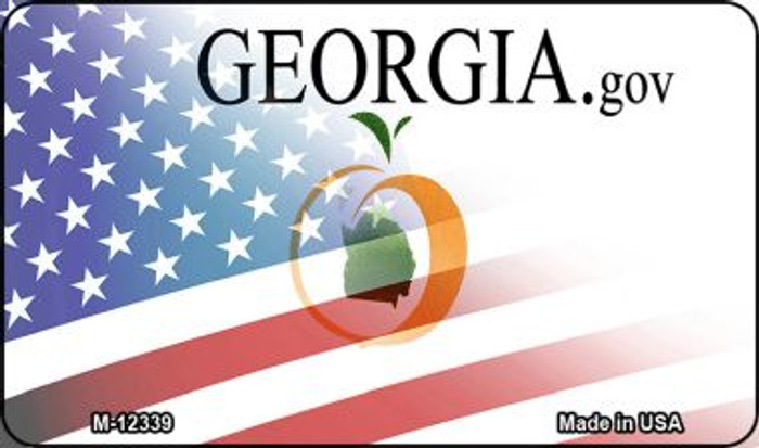 Georgia with American Flag Novelty Metal Magnet M-12339