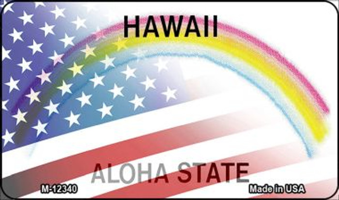 Hawaii with American Flag Novelty Metal Magnet M-12340