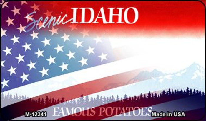 Idaho with American Flag Novelty Metal Magnet M-12341