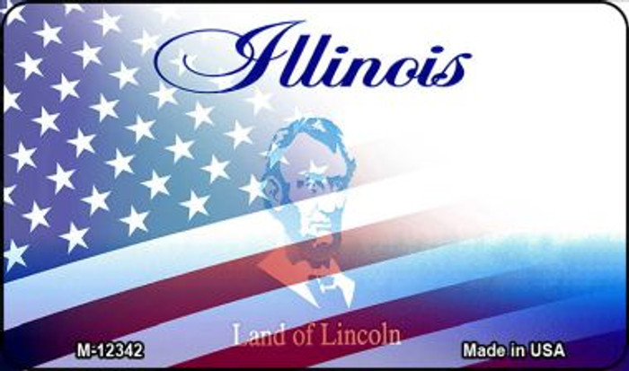 Illinois with American Flag Novelty Metal Magnet M-12342