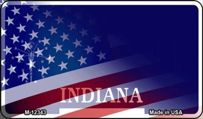 Indiana with American Flag Novelty Metal Magnet M-12343