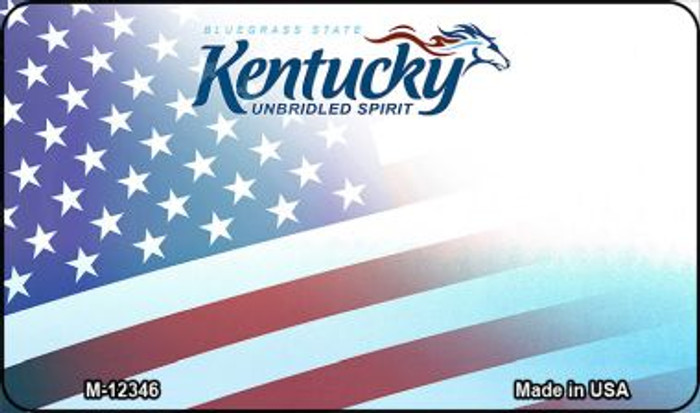 Kentucky with American Flag Novelty Metal Magnet M-12346