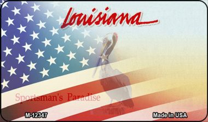Louisiana with American Flag Novelty Metal Magnet M-12347