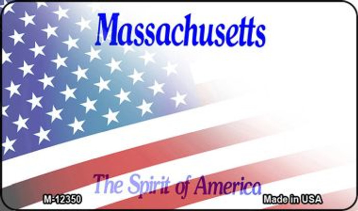Massachusetts with American Flag Novelty Metal Magnet M-12350