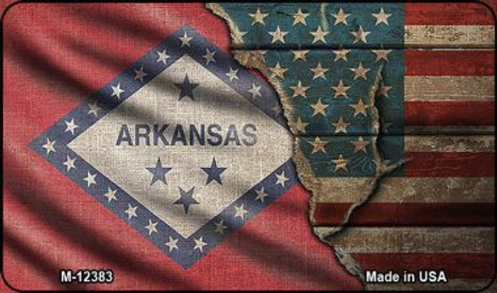 Arkansas/American Flag Novelty Metal Magnet M-12383