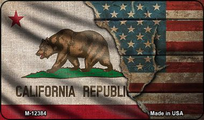 California/American Flag Novelty Metal Magnet M-12384