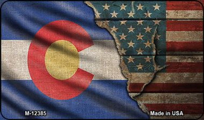 Colorado/American Flag Novelty Metal Magnet M-12385