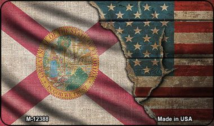 Florida/American Flag Novelty Metal Magnet M-12388
