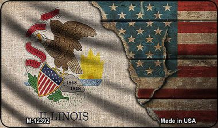 Illinois/American Flag Novelty Metal Magnet M-12392