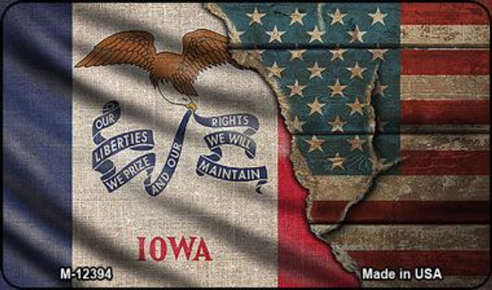 Iowa/American Flag Novelty Metal Magnet M-12394