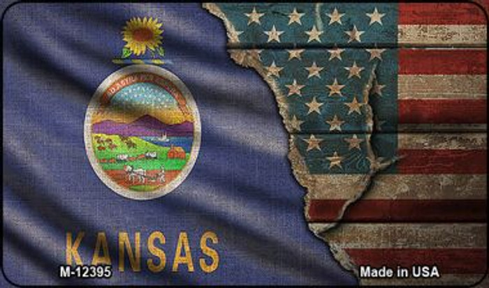 Kansas/American Flag Novelty Metal Magnet M-12395