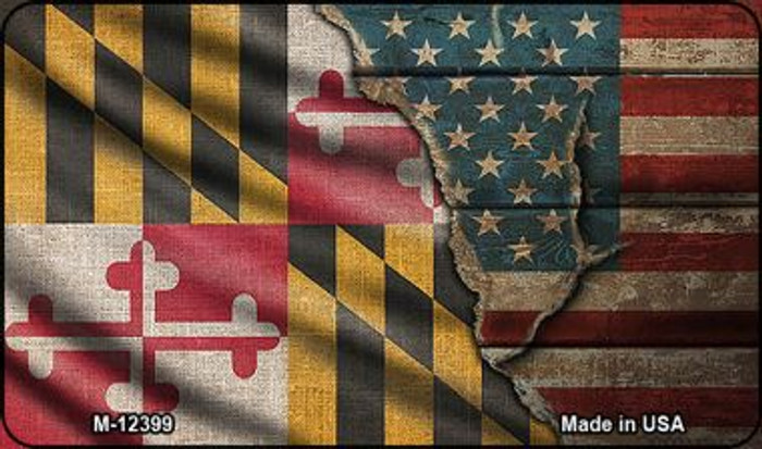 Maryland/American Flag Novelty Metal Magnet M-12399