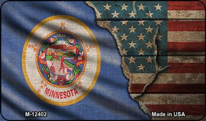Minnesota/American Flag Novelty Metal Magnet M-12402