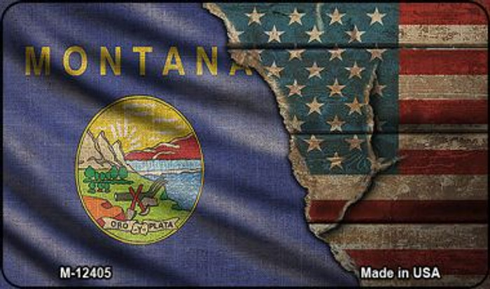 Montana/American Flag Novelty Metal Magnet M-12405