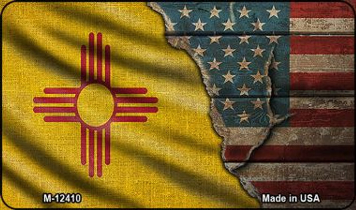 New Mexico/American Flag Novelty Metal Magnet M-12410