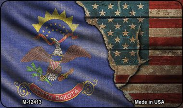 North Dakota/American Flag Novelty Metal Magnet M-12413