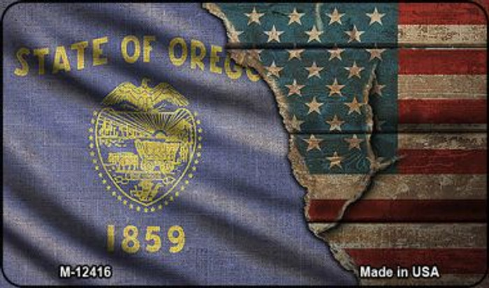 Oregon/American Flag Novelty Metal Magnet M-12416