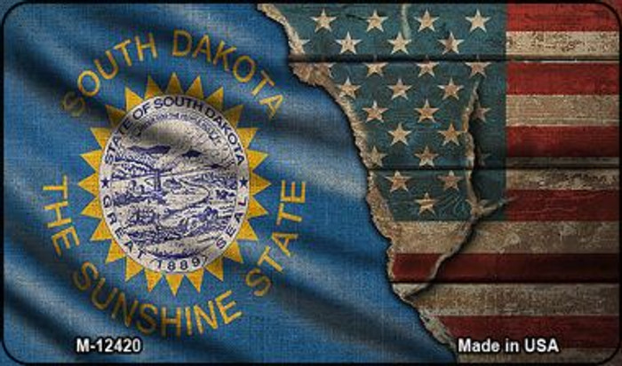 South Dakota/American Flag Novelty Metal Magnet M-12420