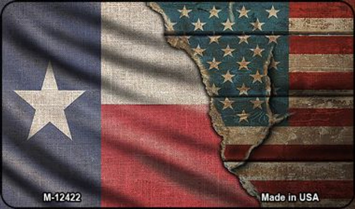 Texas/American Flag Novelty Metal Magnet M-12422